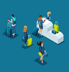 Isometric airport passengers pass passport control vector