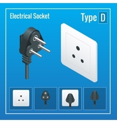 Isometric Switches and sockets set Type D AC vector