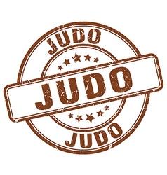 Judo brown grunge round vintage rubber stamp vector