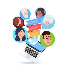 Laptop sales funnel mix race chat bubbles support vector
