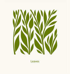 leaves label abstract design square icon vector image