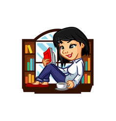 Librarian girl mascot design vector