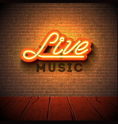 Live music neon sign with 3d signboard letter vector
