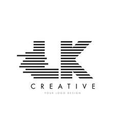 lk l k zebra letter logo design with black and vector image