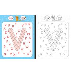 Maze letter v vector
