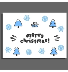 Merry christmas greeting card with cute doodle vector