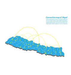 Modern of nepal map connections network design vector