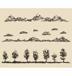 Mountains contours clouds forest sketch vector