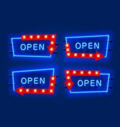 Neon open frame arrow set collection template vector