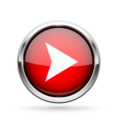Next icon red shiny 3d button with metal frame vector