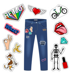 Patch on blue jeans fashion girl denim apparel vector