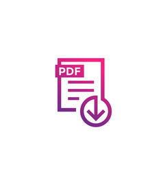 Pdf file download icon on white vector