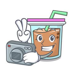 Photographer bubble tea mascot cartoon vector