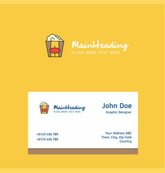 pop corn logo design with business card template vector image