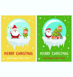 postcard merry christmas happy new year santa elf vector image