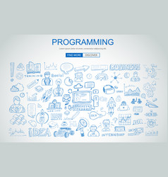 programming concept with business doodle design vector image