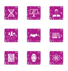 Progressive science icons set grunge style vector