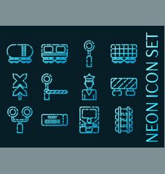 Railroads set icons blue glowing neon style vector