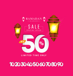 Ramadan kareem sale special offer up to 50 off vector