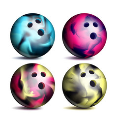 realistic bowling ball set classic round vector image
