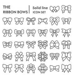 Ribbon bows line icon set knot symbols collection vector