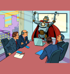 Robot superhero at a business meeting concept vector