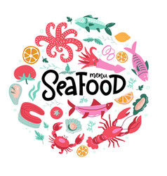 round shape print with color fish and seafood vector image