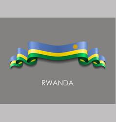 Rwandan flag wavy ribbon background vector