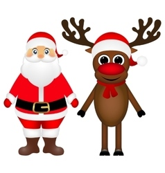 Santa Claus and Christmas reindeer are standing on vector