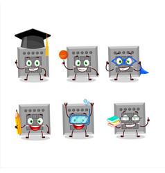 School student among us button task cartoon vector