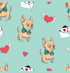 seamless pattern with dogs childish pattern with vector image