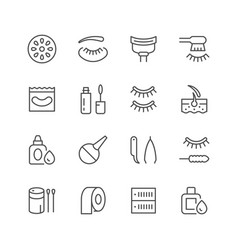 Set line icons of eyelash extension vector
