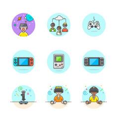 Set multicolor video games icons vector