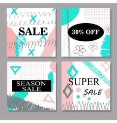 Set of creative hand drawn Sale discount headers vector