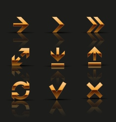 Set of golden icons vector image vector image
