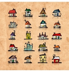 Set of houses on grunge paper sketch for your vector image