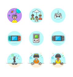 Set of multicolor video games icons vector