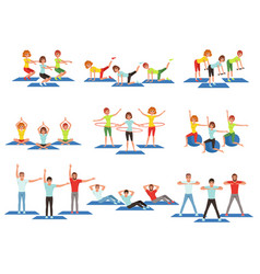 Set of sports people in gym group fitness vector