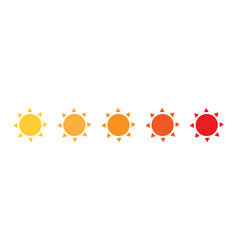 set of sun icons from yellow to red color flat vector image