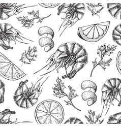 Shrimp drawing Seamless seafood pattern vector image