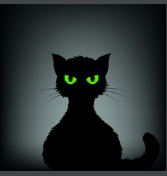 silhouette of black cat with green eyes vector image