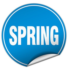 spring round blue sticker isolated on white vector image