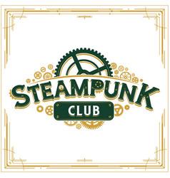 Steampunk logotype design victorian era cogwheels vector