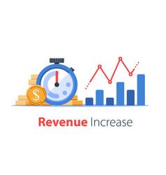 Stopwatch and portfolio performance graph revenue vector