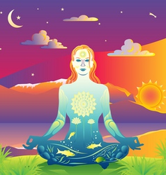 Sunset meditation vector