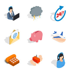 Tech maintenance icons set isometric style vector