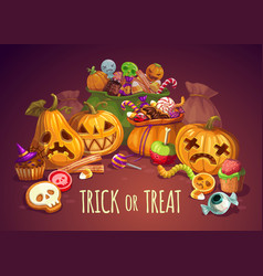 Trick or treat halloween holiday pumpkins vector