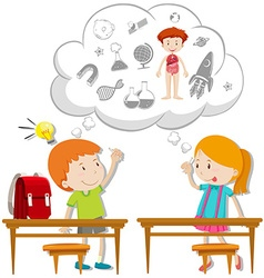 Two students thinking about schoolwork vector