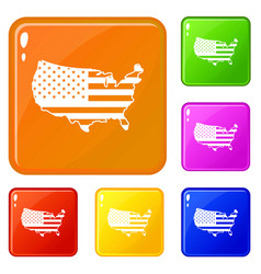 usa map icons set color vector image