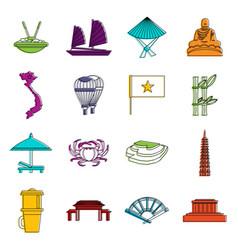 vietnam travel icons doodle set vector image